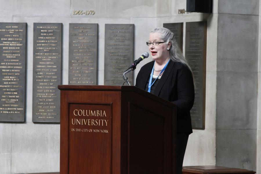 Claire Regan is the 2014 recipient of the Charles R. O'Malley Award for excellence in teaching. She delivered a few words at the 2014 CSPA spring convention advisers' awards luncheon on March 21, 2014 at Columbia University's Low Rotunda.