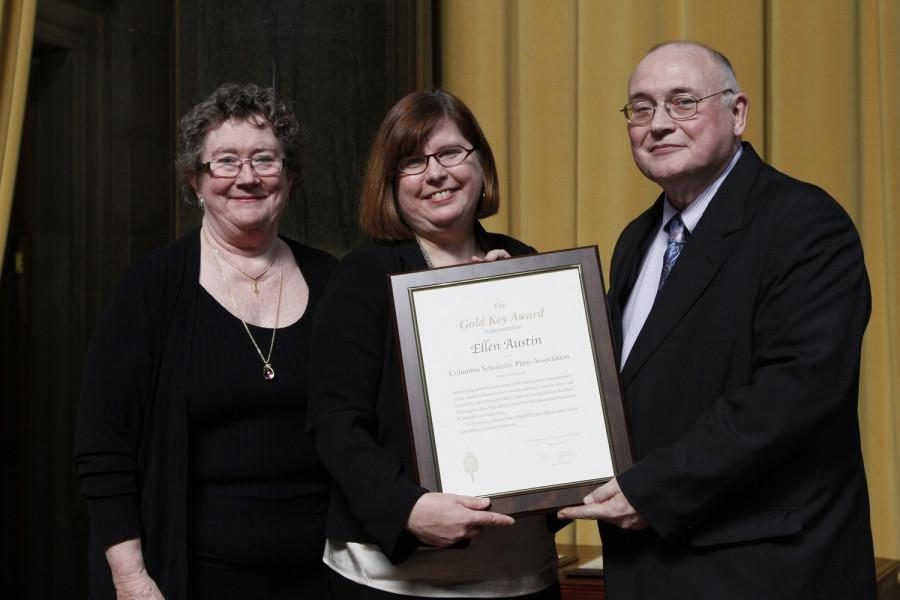 Ellen Austin is a 2014 recipient of the CSPA Gold Key Award. She received her award at the 2014 CSPA spring convention advisers' awards luncheon on March 21, 2014 at Columbia University's Low Rotunda.