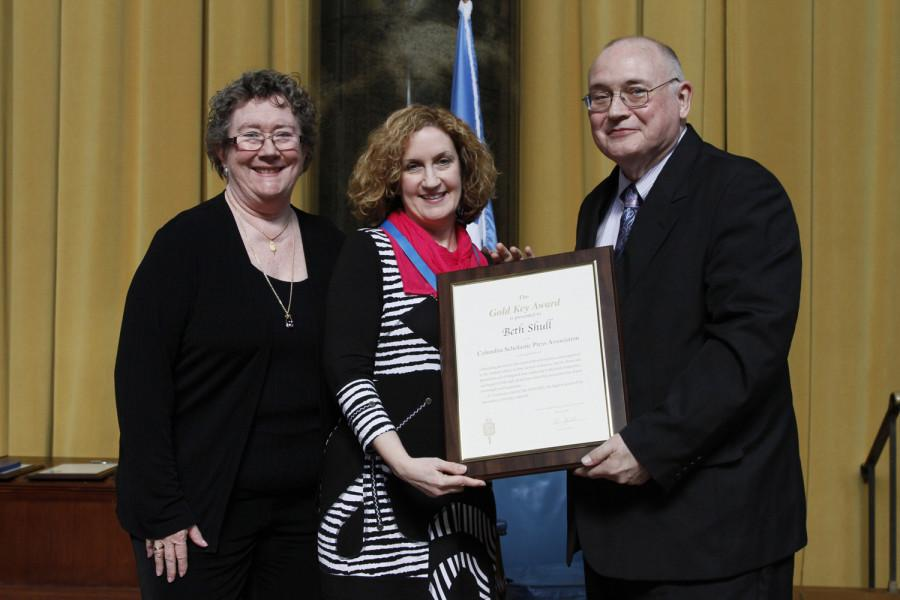 Beth Shull is a 2014 recipient of the CSPA Gold Key Award. She received her award at the 2014 CSPA spring convention advisers' awards luncheon on March 21, 2014 at Columbia University's Low Rotunda.