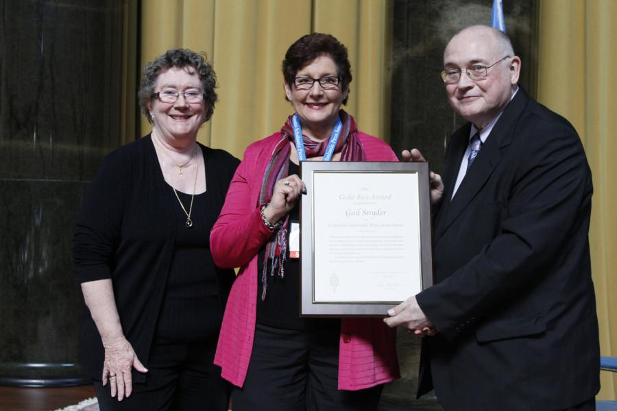 Gail Snyder is a 2014 recipient of the CSPA Gold Key Award. She received her award at the 2014 CSPA spring convention advisers' awards luncheon on March 21, 2014 at Columbia University's Low Rotunda.