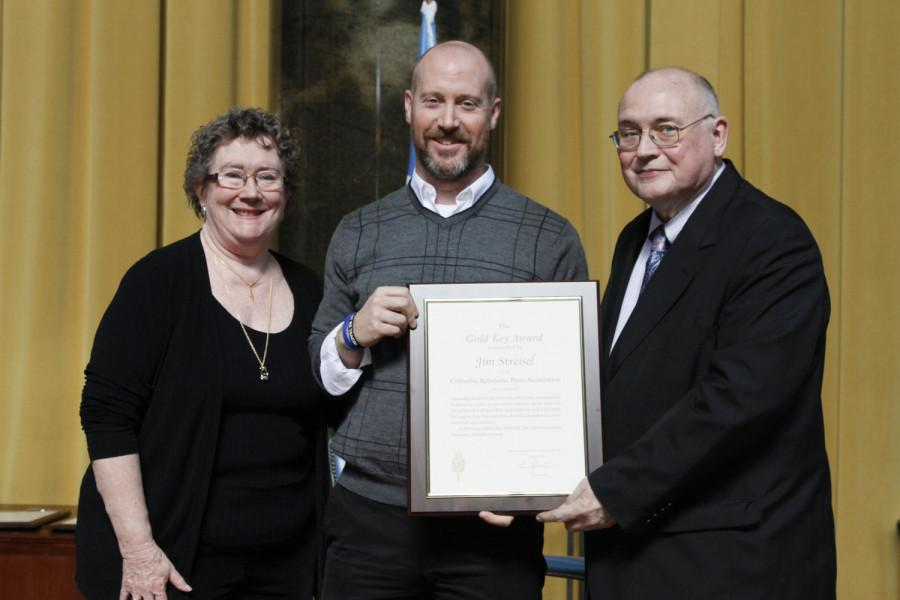Jim Streisel is a 2014 recipient of the CSPA Gold Key Award. He received his award at the 2014 CSPA spring convention advisers' awards luncheon on March 21, 2014 at Columbia University's Low Rotunda.