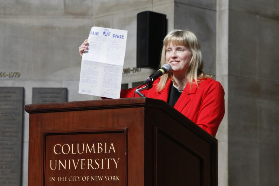 Meredith Cummings is the 2014 recipient of the James F. Paschal Award. She delivered a few words at the 2014 CSPA spring convention advisers' awards luncheon on March 21, 2014 at Columbia University's Low Rotunda.