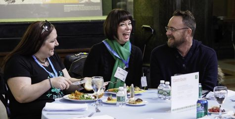 Lizabeth Walsh, Jeff Moffitt and Christy Briggs enjoy the lunch before the awards ceremony.